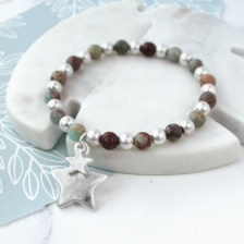 Silver Plated Double Star Beaded Bracelet by Peace of Mind